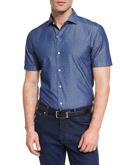 Diamond Jacquard Short-Sleeve Chambray Shirt, Blue