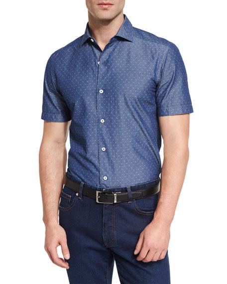 Ermenegildo Zegna Diamond Jacquard Short-Sleeve Chambray Shirt,