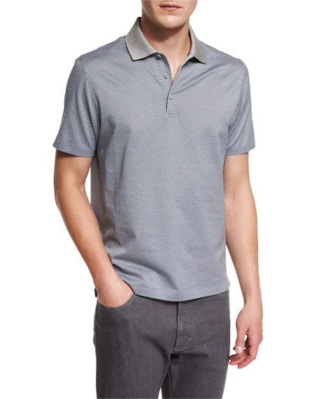 Ermenegildo Zegna Printed Short-Sleeve Polo Shirt, Gray