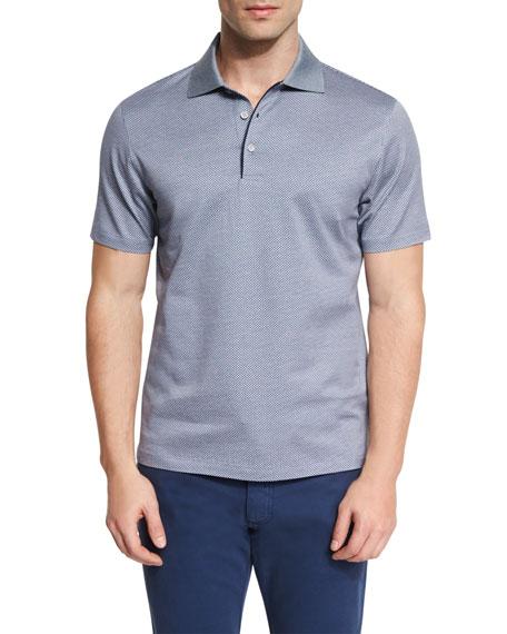 Ermenegildo Zegna Basketweave-Pattern Short-Sleeve Polo Shirt, Navy