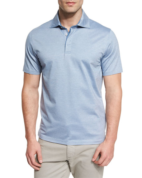 Ermenegildo Zegna Stretch-Cotton Polo Shirt, Light Blue