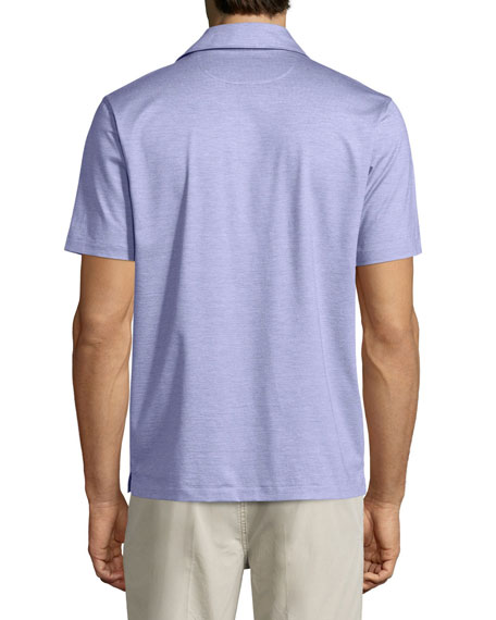 1x1 Knit Polo Shirt, Lavender