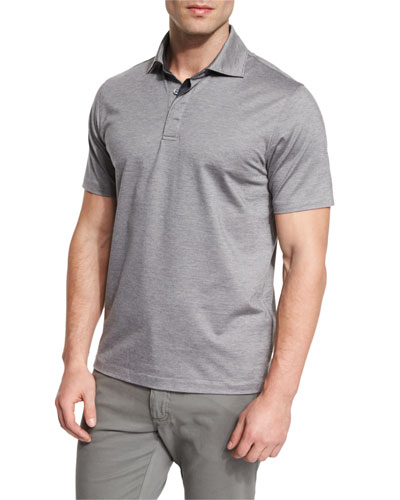 Stretch-Cotton Polo Shirt, Grey/Navy