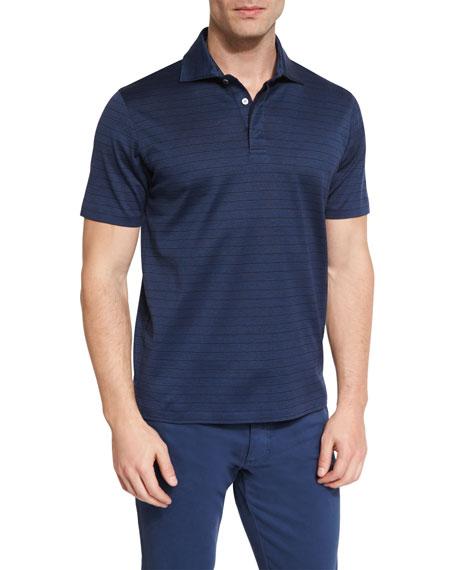Ermenegildo Zegna Blocked-Stripe Short-Sleeve Polo Shirt, Navy