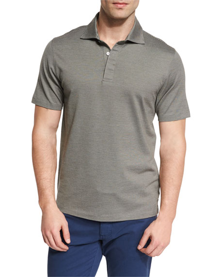 Ermenegildo Zegna Micro-Stripe Short-Sleeve Polo Shirt &