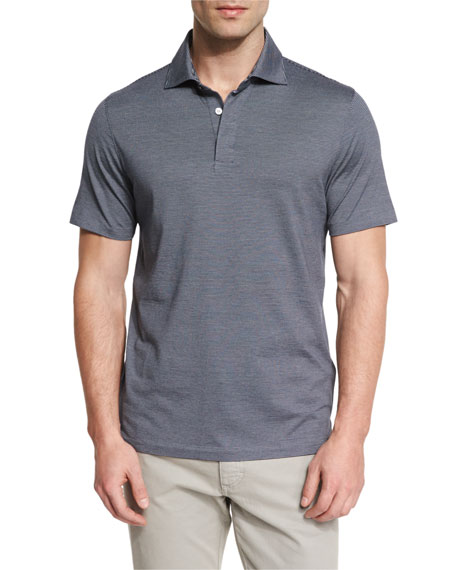 Ermenegildo Zegna Micro-Striped Cotton-Blend Short-Sleeve Polo