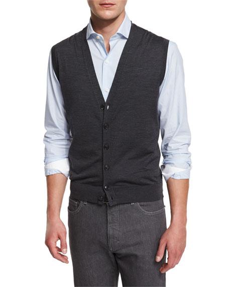 Ermenegildo Zegna Wool Cardigan Vest, Striped Long-Sleeve Sport