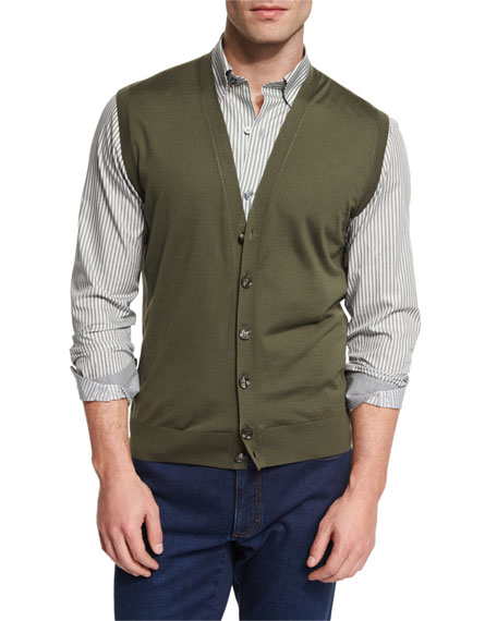 High Performance Merino Wool Cardigan Vest, Green