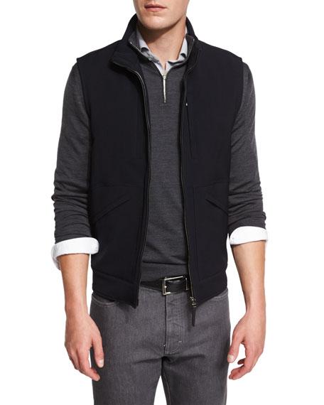 Ermenegildo Zegna Trofeo Wool Vest w/Leather Trim, Navy