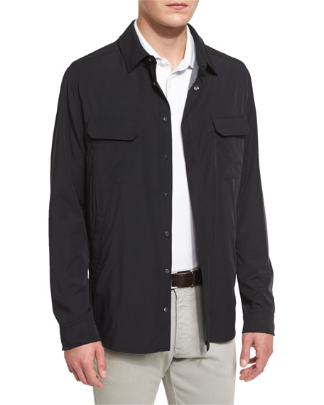 Ermenegildo Zegna Snap-Front Long-Sleeve Shirt Jacket, Black
