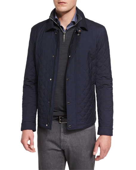 Ermenegildo Zegna Quilted Wool-Blend Field Jacket, Navy