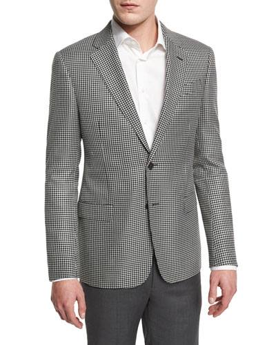 G-Line Large Houndstooth Sport Coat, Black/White