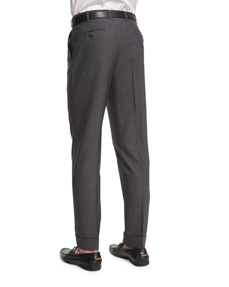 Micro-Tic Flat-Front Trousers, Charcoal