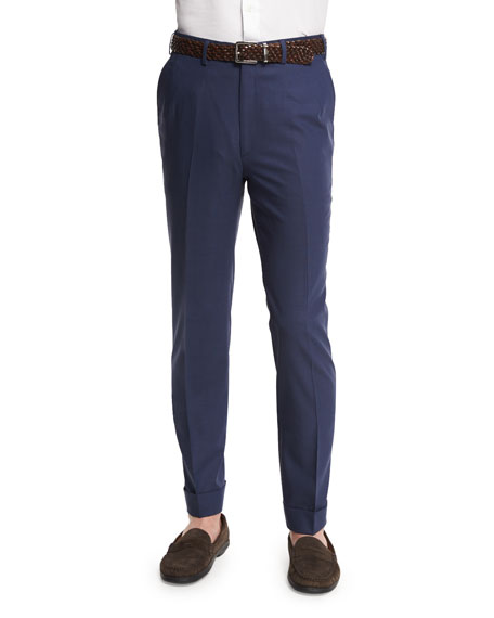 Micro-Tic Flat-Front Trousers, Navy