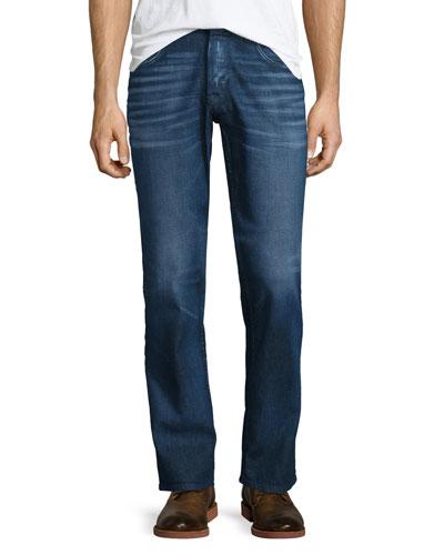 Byron Straight-Leg Denim Jeans, Dark Blue