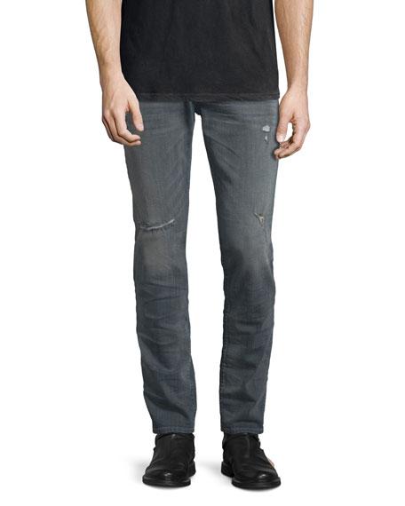 Hudson Jeans Sartor Wreckage Slouchy Skinny-Leg Denim Jeans, Medium Gray