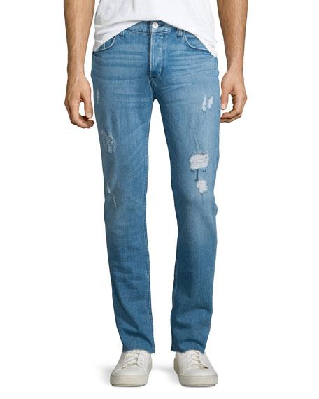 Hudson Jeans Sartor Raw Skinny-Leg Denim Jeans, Blue