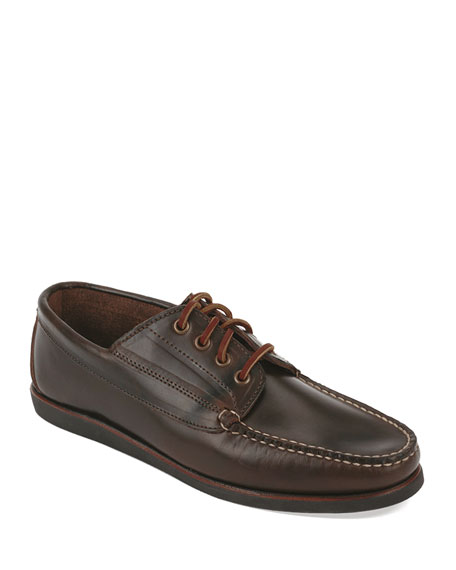 Falmouth USA Leather Lace-Up Moccasin, Dark Olive