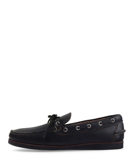 Yarmouth USA Leather Boat Shoe, Black