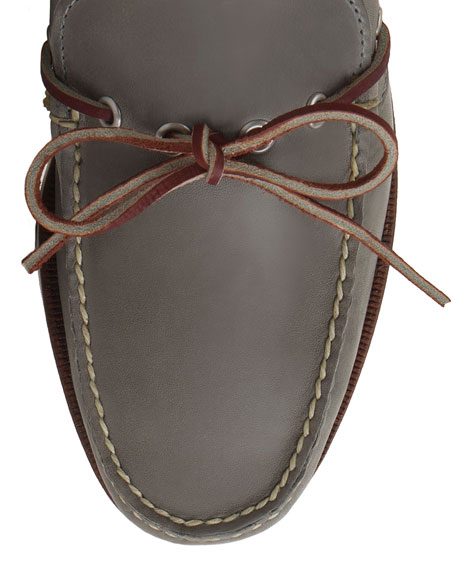 Yarmouth USA Leather Boat Shoe, Charcoal