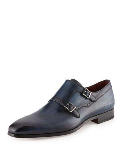 Leather Double-Monk Shoe, Blue