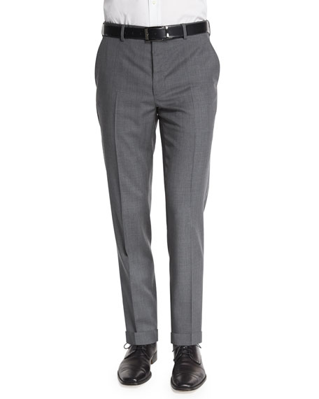 Ralph Lauren Flat-Front Wool Trousers, Light Gray