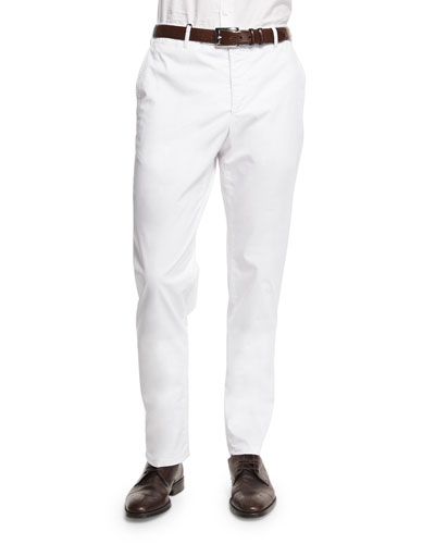 Parker Cotton-Stretch Flat-Front Trousers, White