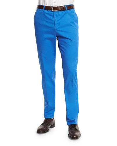 Parker Cotton-Stretch Flat-Front Trousers, Blue