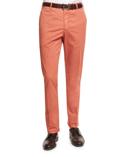Parker Cotton-Stretch Flat-Front Trousers, Red