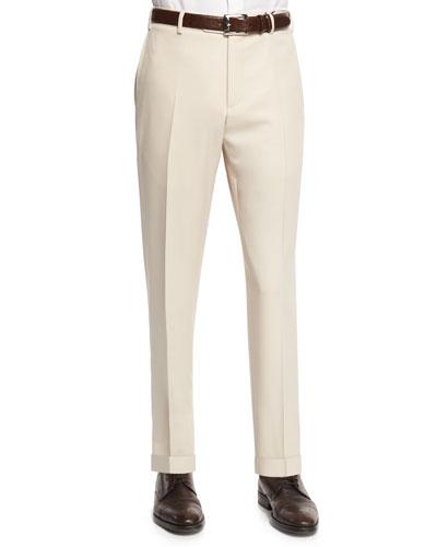 Parker Gabardine Wool Trousers, Tan