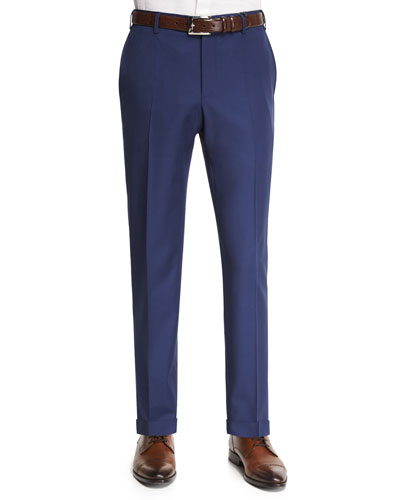 Parker Gabardine Wool Trousers, Navy