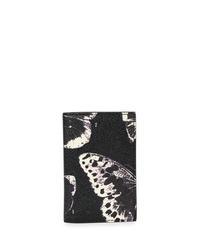 Moth-Print Leather Pocket Organizer, Black/Ivory