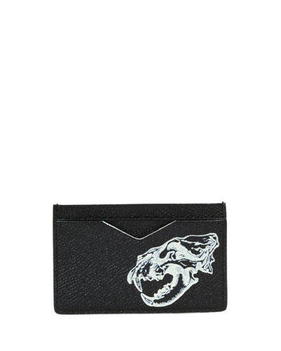 Lion Skull Leather Card Case, Black/Off White