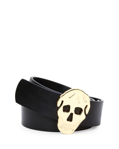Skull-Head Buckle Leather Belt, Black/Gold