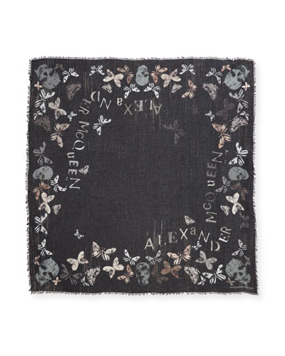 Bleached Butterfly & Floral Scarf, Black/Light Gray