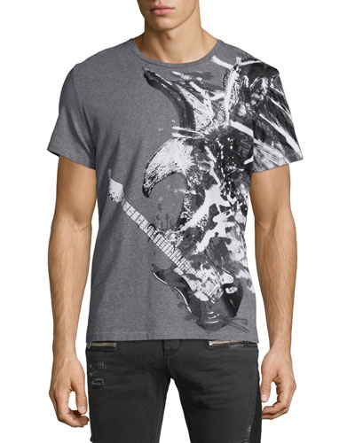 Bald Eagle-Graphic Short-Sleeve Tee, Medium Gray