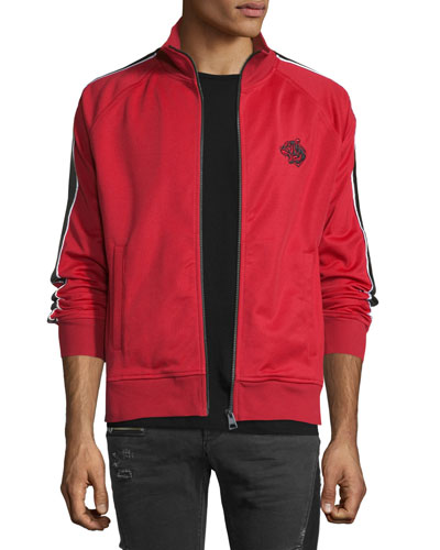 Striped-Sleeve Zip Track Jacket, Red