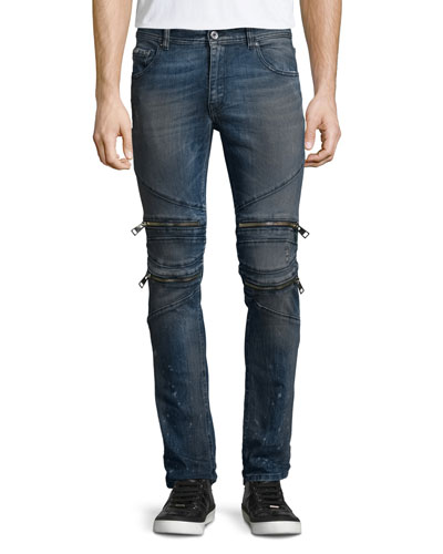 Vintage Dirty Slim-Fit Moto Denim Jeans, Blue