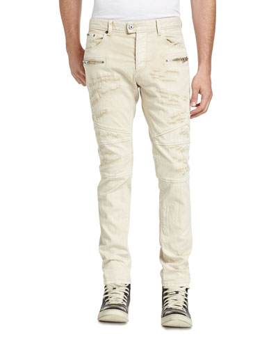 Destroyed Stretch Biker Denim Jeans, Sand