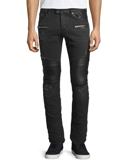 Just Cavalli Destroyed Stretch Biker Denim Jeans, Black