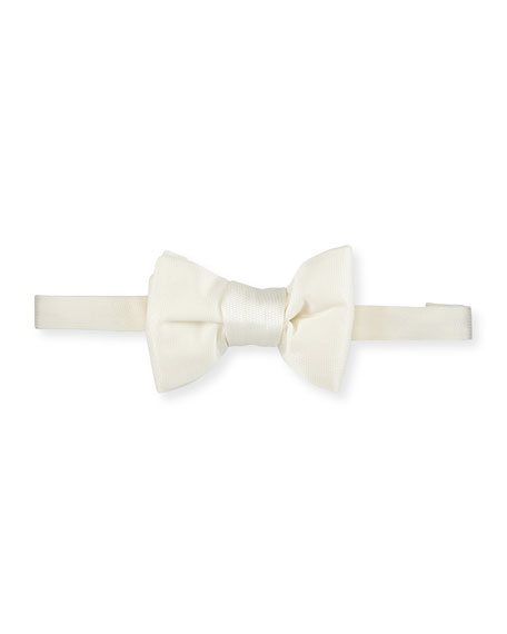 Textured Silk Bow Tie, White