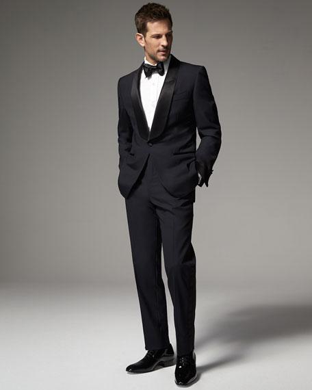 Narrow Satin Bow Tie, Black