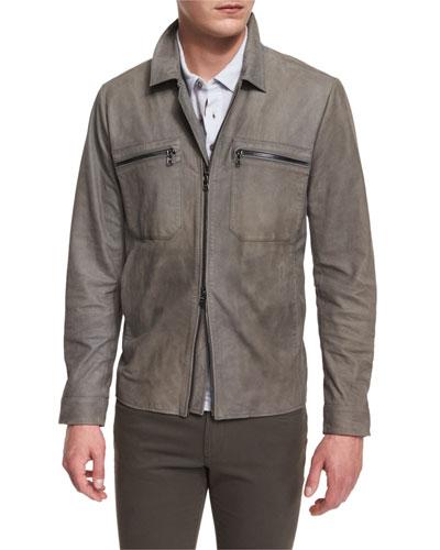 Nubuck Leather Utility Jacket, Gray