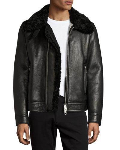 Lambskin & Shearling Aviator Jacket, Black