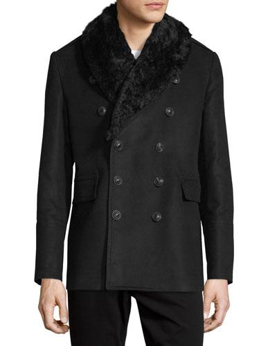 Moleskin Shearling-Lined Pea Coat