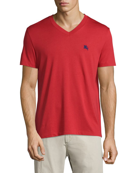 Burberry Lindon Cotton V-Neck T-Shirt, Red