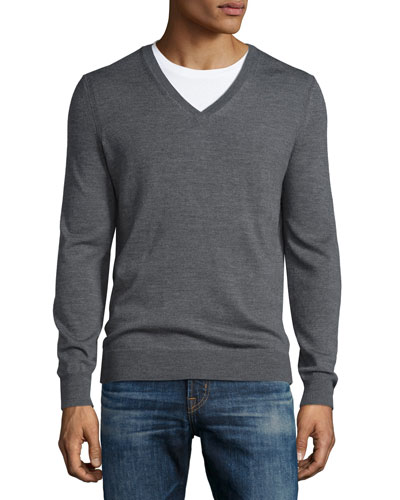 Dockley Wool V-Neck Sweater, Mid-Gray Melange