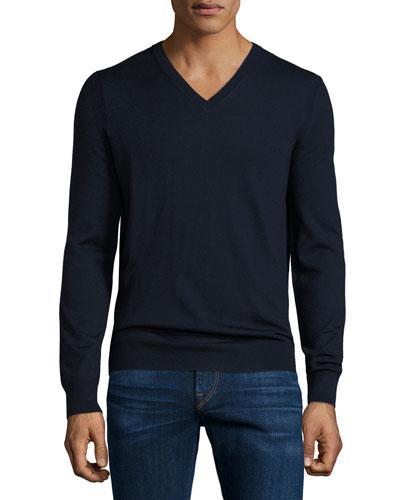 Dockley Wool V-Neck Sweater, Navy