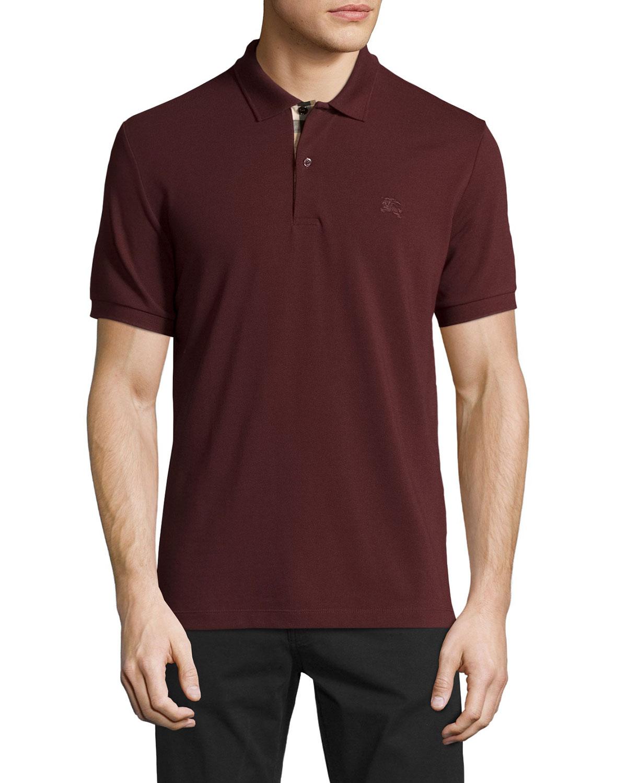 3f7cabac28d9 Burberry Check-Placket Piqué Polo Shirt