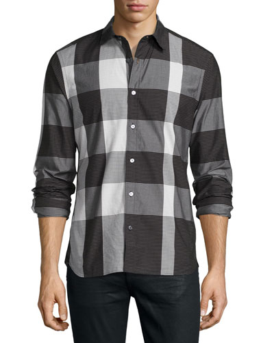 Large-Check Sport Shirt, Black/White